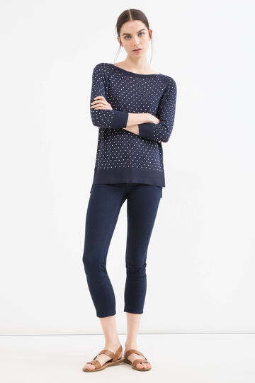 100% viscose pullover with polka dot pattern