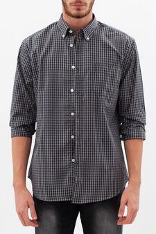 Camicia tartan con colletto button down, Bianco/Grigio, hi-res
