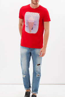 Printed T-shirt in 100% cotton, Red, hi-res