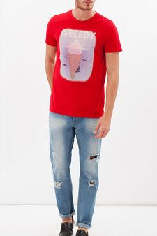 T-shirt puro cotone con stampa, Rosso, hi-res
