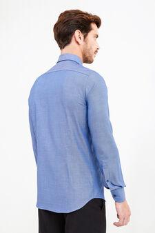 Camicia formale slim fit micro fantasia, Blu scuro, hi-res