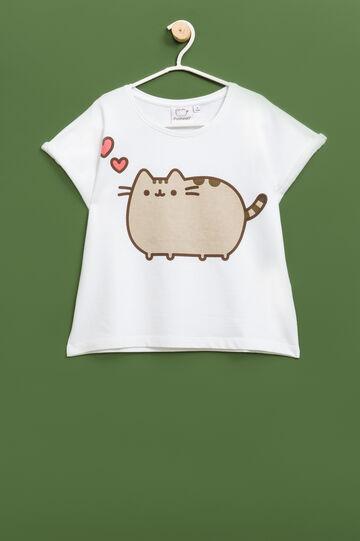 Pusheen the cat sweatshirt with short sleeves, White, hi-res