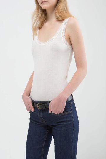 Jeans a zampa cuciture a contrasto, Blu, hi-res