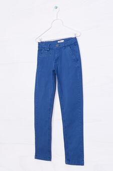 Stretch cotton trousers, Deep Blue, hi-res