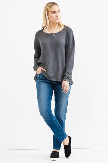 Curvy rib knitted pullover, Grey Marl, hi-res