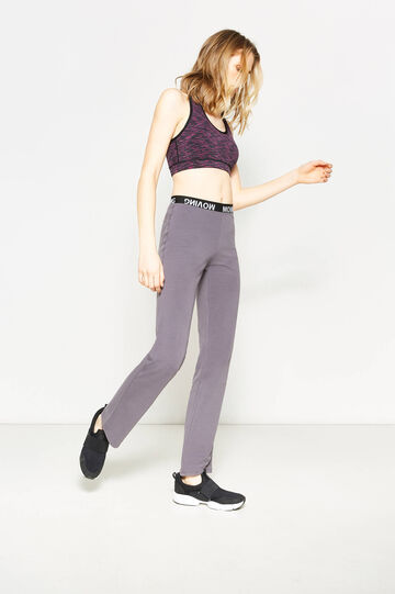 Printed cotton gym trousers