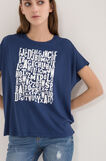 T-shirt with printed lettering, White/Blue, hi-res