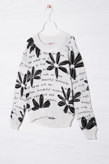 Printed 100% cotton knitted pullover, White/Black, hi-res