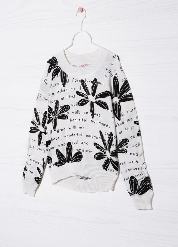 Printed 100% cotton knitted pullover   OVS