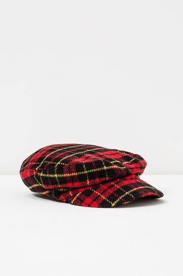 Tartan pattern flat cap, Red, hi-res