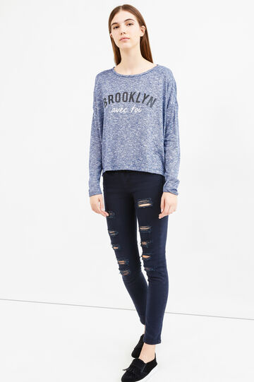 Viscose blend sweatshirt with printed lettering, Navy Blue, hi-res