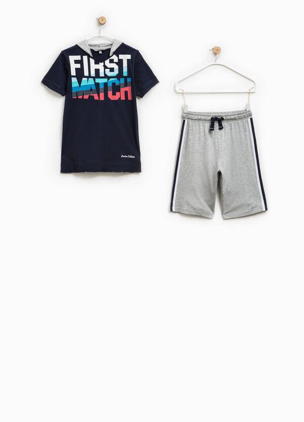 T-shirt with hood and Bermuda shorts set   OVS