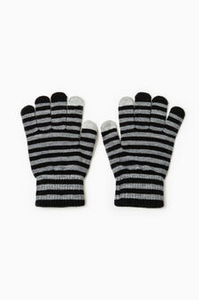 Striped gloves for touchscreen, Black/Grey, hi-res