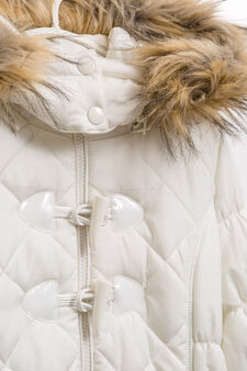Jacket with hood with fur, White, hi-res