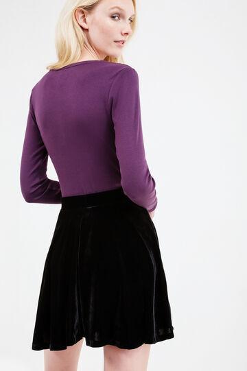T-shirt puro cotone maniche lunghe, Viola, hi-res