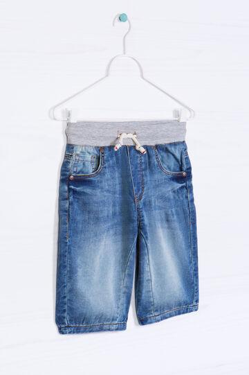 Stretch denim Bermuda shorts with drawstring, Denim, hi-res