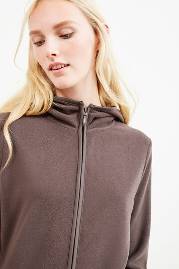 Fleece hoodie with high neck, Brown, hi-res