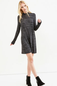 Stretch viscose mélange dress, Black, hi-res