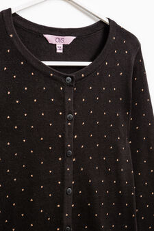 100% cotton cardigan with all-over print, Black, hi-res