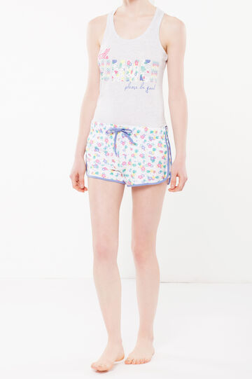 Floral sleep shorts with vent, Floral print 1, hi-res