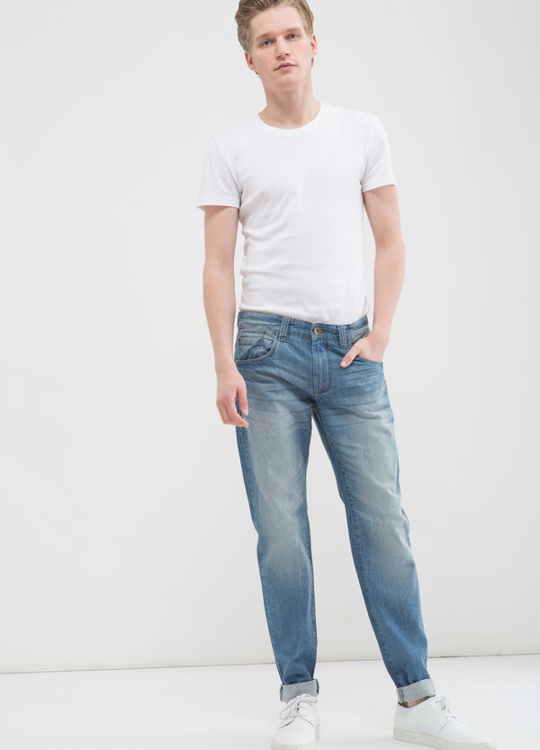 Used effect slim fit jeans with five pockets | OVS