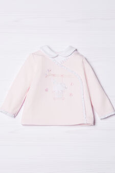 100% cotton polo shirt with frills, Pink, hi-res