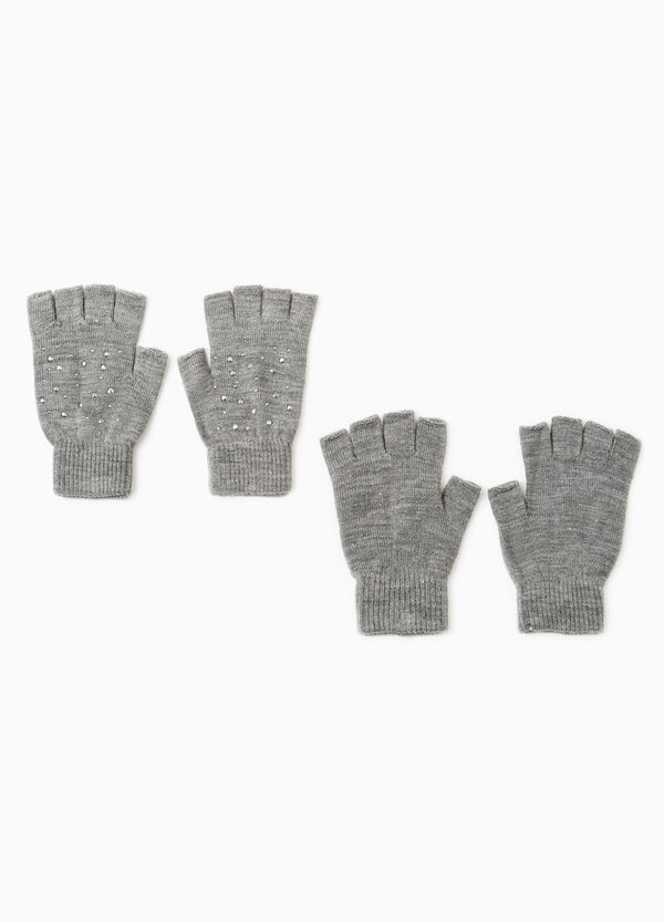 Two-pair pack gloves with diamantés   OVS