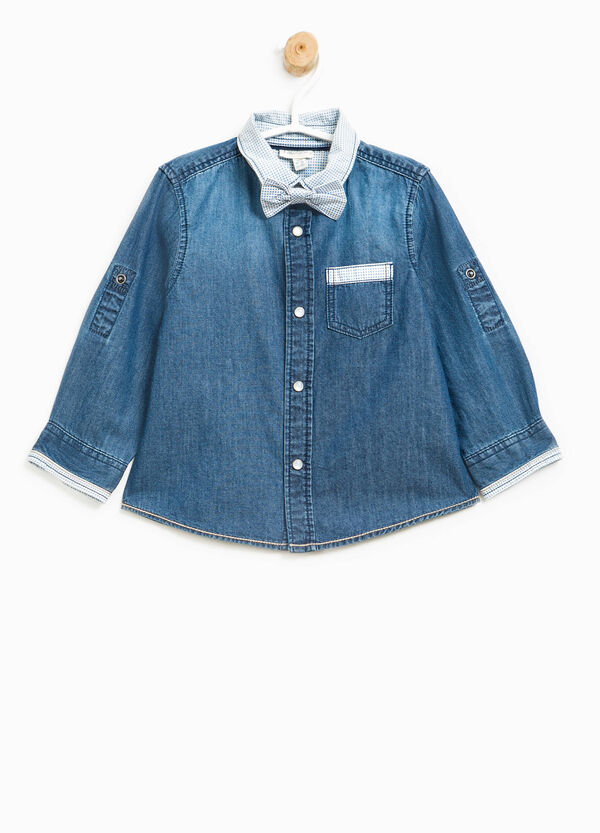 Denim shirt with bow tie | OVS