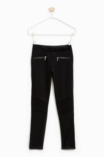Stretch viscose trousers with pleats, Black, hi-res