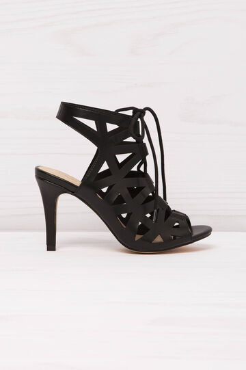 Solid colour sandals with heel, Black, hi-res