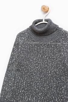 Pullover with sequins, Dark Grey, hi-res
