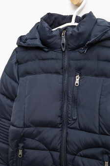 Down jacket with high neck and hood, Navy Blue, hi-res