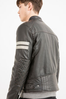 Leather look jacket with high collar, Black, hi-res