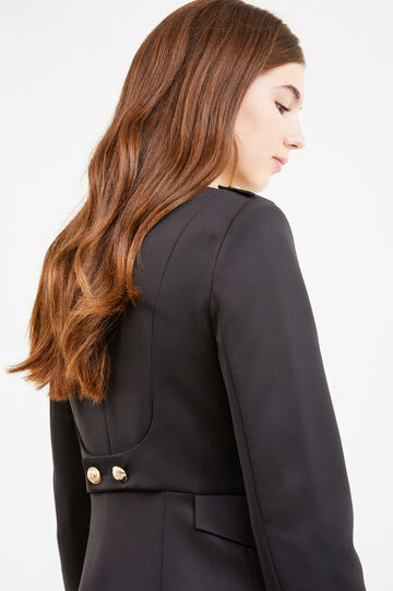 Stretch blazer with gold buttons, Black, hi-res