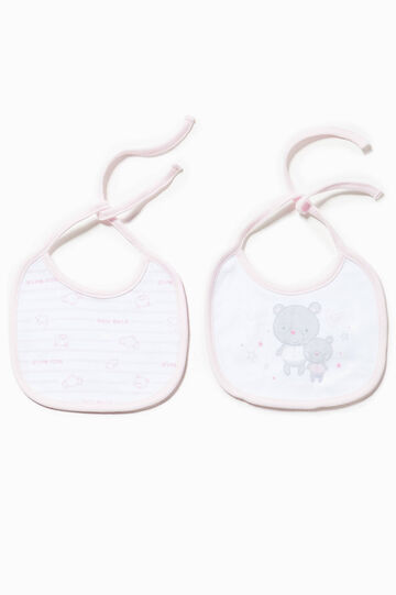 Two-pack bibs solid colour and striped, Pink, hi-res