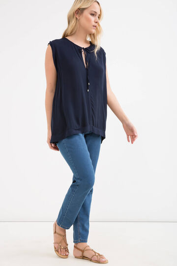 Curvy sleeveless stretch T-shirt, Navy Blue, hi-res