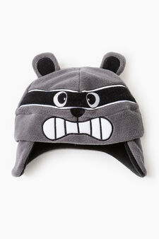 Beanie cap with patches, Dark Grey, hi-res