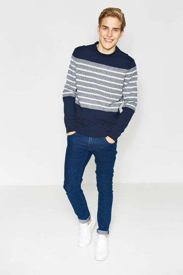 Striped pullover in 100% cotton, White/Blue, hi-res