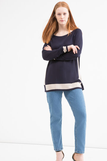 Curvy 100% viscose pullover, Blue/Brown, hi-res
