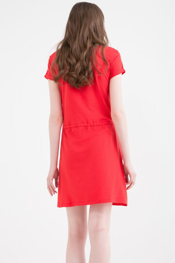 Dress in 100% cotton with drawstring, Red, hi-res