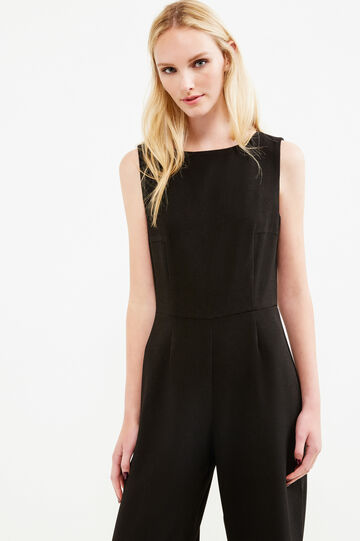 Solid colour sleeveless playsuit, Black, hi-res