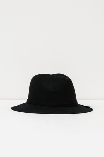 Wide-brim hat with bow, Black, hi-res