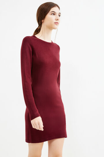 Dress with round neck and zip on back, Aubergine, hi-res