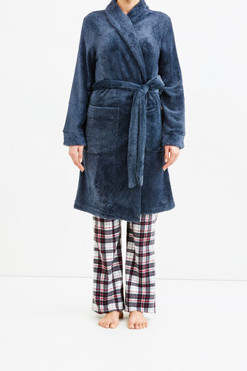 Solid colour dressing gown with belt, Navy Blue, hi-res