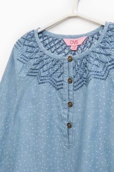 Polka dot patterned denim blouse, Denim Blue, hi-res