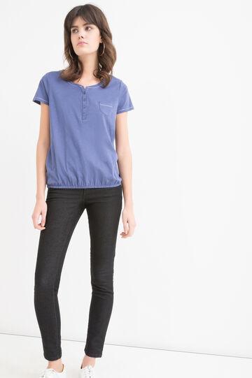 Solid colour T-shirt in 100% cotton, Denim, hi-res