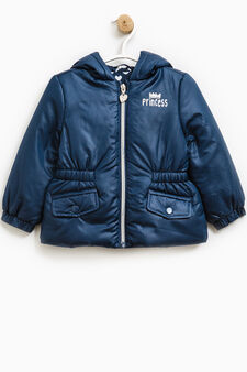 Down jacket with glitter print, Blue, hi-res
