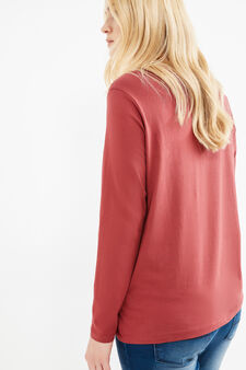 Curvy round-neck T-shirt, Red, hi-res