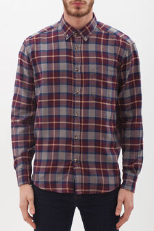 Check shirt in 100% cotton, Grey, hi-res