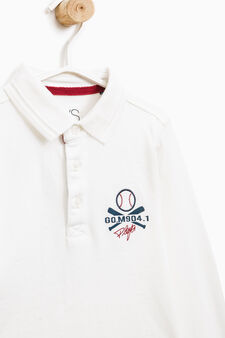 100% cotton polo shirt with printed lettering, White, hi-res